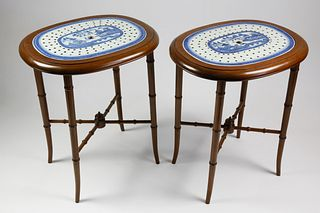 Pair of Canton Strainers Mounted as Occasional Tables
