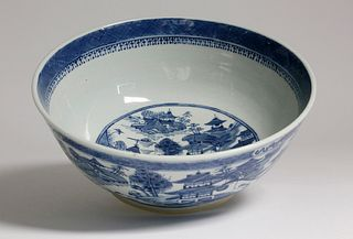Canton Blue and White Punch Bowl, 19th Century