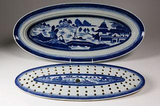 Canton Fish Platter and Original Strainer, mid 19th Century