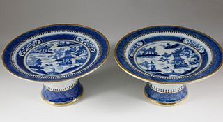 Pair of Nanking Tazze, late 18th Century