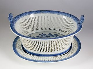 Canton Fruit Basket and Underplate, late 18th/early 19th Century