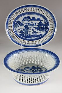 Canton Oval Fruit Basket and Stand, circa 1820