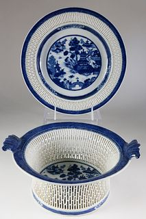 Nanking Fruit Basket and Stand, late 18th Century