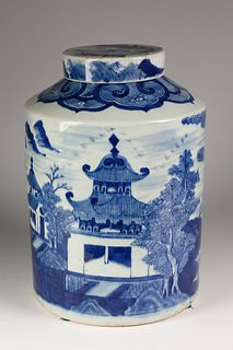 Canton Blue and White Storage Canister, circa 1840s