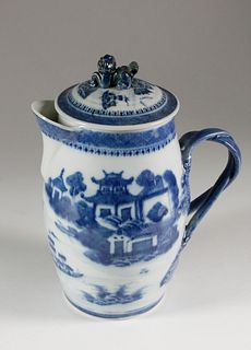 Canton Blue and White Cider Pitcher, circa 1820