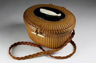 Jose Formoso Reyes Friendship Basket with Braided Leather Shoulder Strap