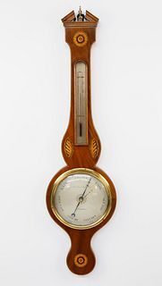 George III Inlaid Mahogany Wheel Barometer, circa 1800-1810