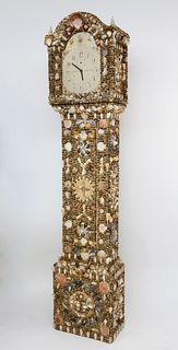 Seashell Encrusted Tall Case Clock, 19thCentury