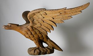 Outstanding American Life Size Carved Pine Eagle Sculpture, Attributed to William Rush