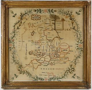 1811 Needlework Map Sampler of England and Wales by Mary Morley