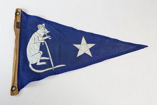 Vintage Nantucket Wharf Rat Club Burgee Flag, circa 1950s