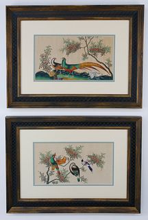 """Pair of Chinese Export Watercolors on Pith Paper """"Pair of Pheasants and Other Birds in Foliage"""", circa 1850"""