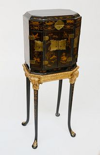 Chinese Export Gilt Decorated Black Lacquer Collector's Cabinet on Stand, 19th Century