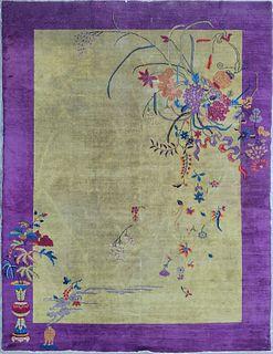 Antique Floral Pictorial Chinese Peking Carpet, circa 1920