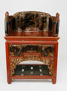 Chinese Parcel-Gilt Cinnabar Red Lacquered Shrine, Qing Dynasty