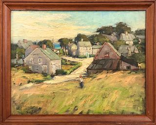 """Anne Ramsdell Congdon Oil on Board """"View from Mill Hill"""""""