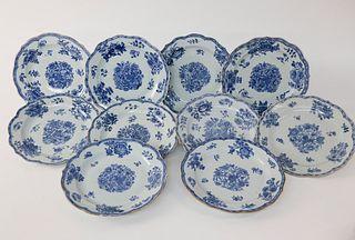 Set Of Ten Chinese Export Porcelain Underglaze Blue Dinner Plates, circa 1760