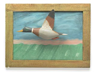 1/2 size flying mallard drake on painted background, Gus Wilson, South Portland, Maine.