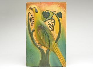Wonderfully executed wall plaque carving of a pheasant, Oscar Peterson, Cadillac, Michigan, 1st half 20th century.
