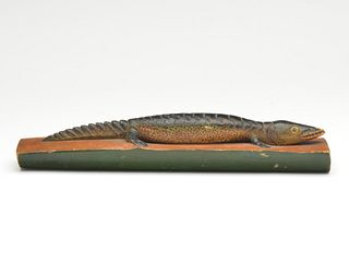 Carved whimsical alligator resting on a log, Oscar Peterson, Cadillac, Michigan, 2nd quarter 20th century.