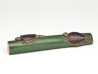 Carved whimsy of two turtles on a log, Oscar Peterson, Cadillac, Michigan, 2nd quarter 20th century.