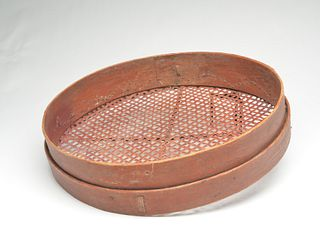 Rare 19th century red bean winnower, Lunenburg County, Nova Scotia, last quarter 19th century.