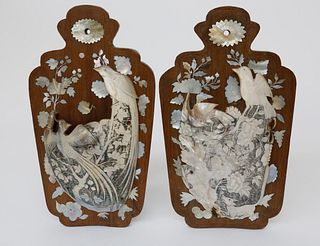 Pair of Chinese Mother of Pearl and Teak Wood Wall Pockets, 19th Century