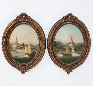 """Pair of Chinese Export Oils """"Two Views of the Nine-Stage Pagoda at Whompoa Anchorage"""", circa 1830-1840"""