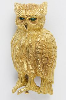 Cartier 18k Yellow Gold Owl Brooch with Emerald Eyes
