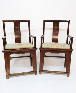 Pair of Chinese Red Lacquered Elmwood Armchairs, Qing Dynasty