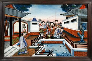 Chinese Export Reverse Painting on Glass, first half of the 19th Century