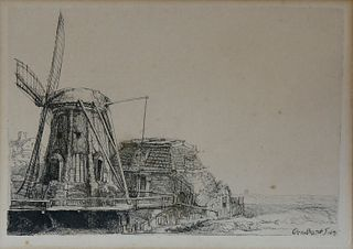 """Rembrandt Harmenszoon Van Rijn Etching on Paper, """"The Windmill"""""""