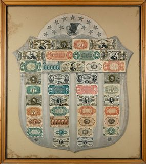 Francis E. Spinner Presentation 19thC. American Fractional Currency Shield