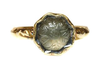 An antique single stone smoky quartz ring,