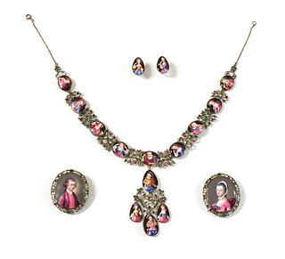 An 18th century enamel portrait miniature necklace, earrings and pair of clasps, cased suite,