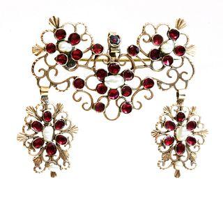 A late 18th century Iberian flat cut garnet and freshwater pearl brooch/pendant, c.1800,
