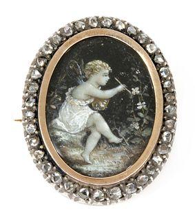 A Victorian hand painted diamond set memorial brooch,