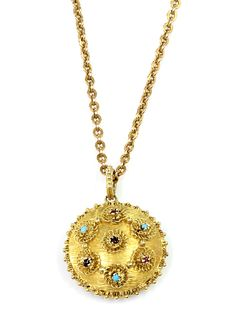 A Regency gold circular gem set pendant, c.1820,