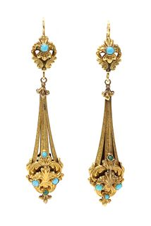 A pair of Regency gold and turquoise set drop earrings,
