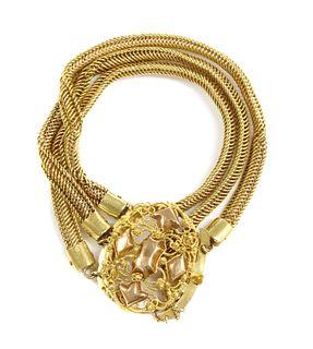 A Dutch gold three row bracelet,