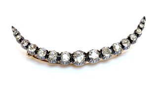 A Victorian diamond crescent brooch or hair ornament,