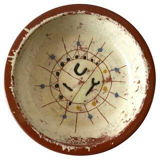 La Gardo Tackett California Studio Ceramic Low Bowl with Carved Graphic Design