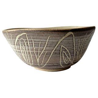 Early Dora De Larios California Studio Pottery Bowl with Abstract Modern Design