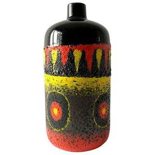 West German Red Black Yellow Fat Lava Large Scale Vase