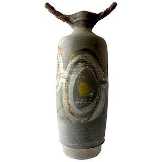 Lyle Perkins Earthenware Raku Fired Sculptural Horned Form