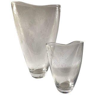 Vicke Lindstrand for Kosta Boda Swedish Modernist Pair of Etched Glass Vases