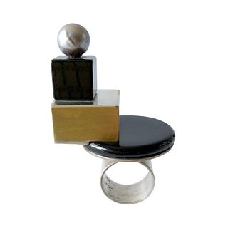 Heidi Abrahamson Sterling Silver Onyx Brass Tahitian Pearl Post Modernist Ring