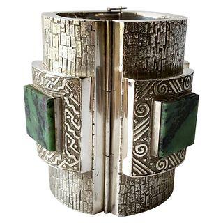 Graziella Laffi Peruvian Modernist Sterling Silver Green Malachite Cuff Bracelet