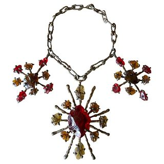 Jack Hoag Brutal California Bronze Drip on Metal Chain Necklace and Glass Chunks