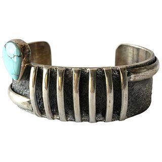 Darrin Livingston Sterling Silver Candelaria Turquoise Navajo Cuff Bracelet